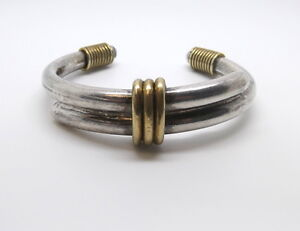 Mexican-Designer-Laton-Ag-Sterling-Silver-Brass-Taxco-TJ-01-Thick-Cuff-Bracelet