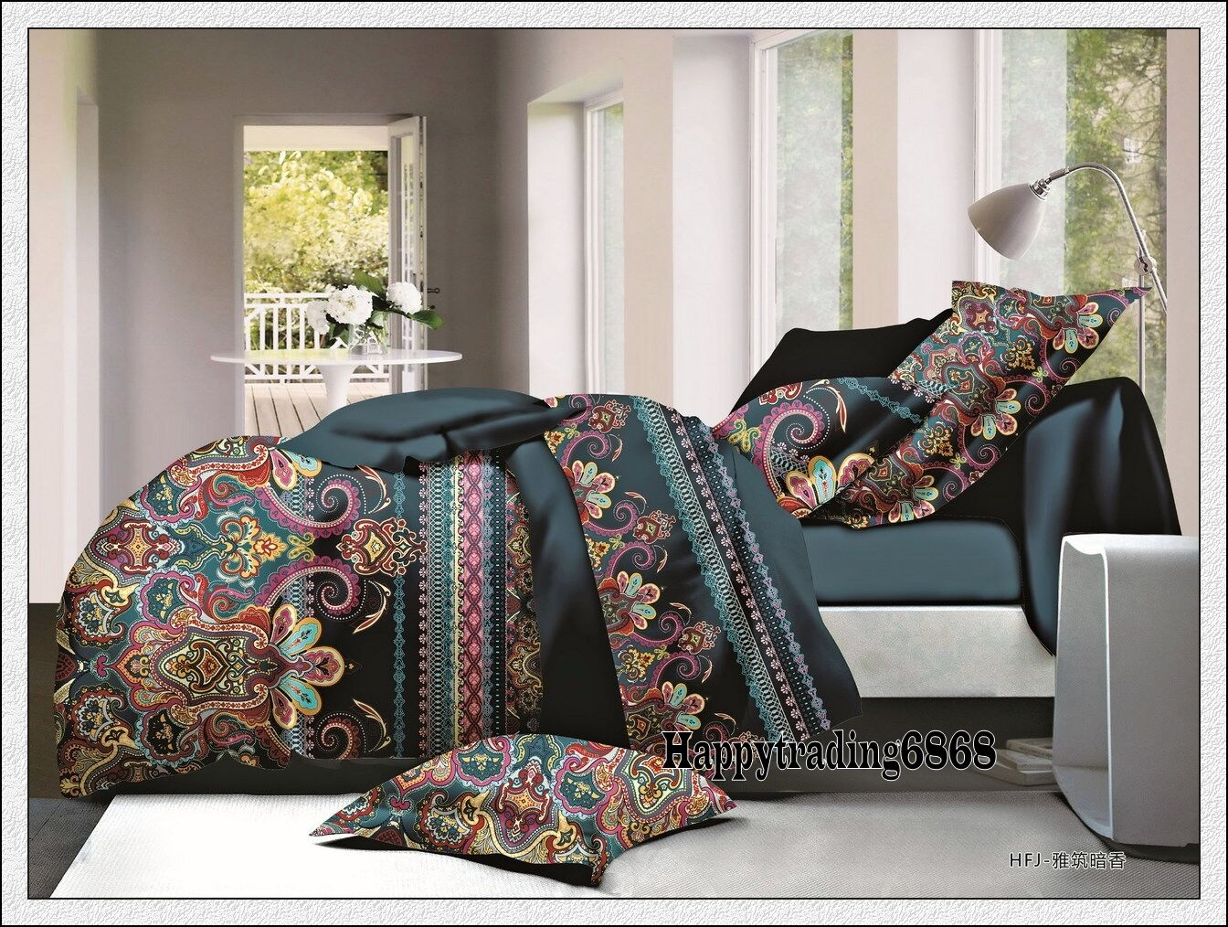 deep teal stylish print king queen quilt doona duvet cover 2 pillowcases set ebay. Black Bedroom Furniture Sets. Home Design Ideas