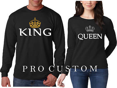 King and Queen CROWN VALENTINES Couple matching funny cute LONG SLEEVE - King And Queen Crown