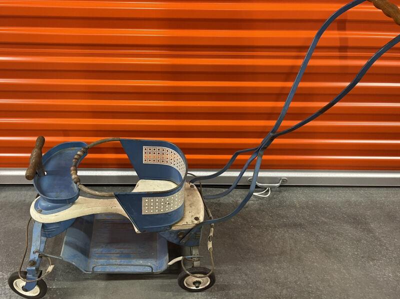 Antique Vintage Taylor Tot Tin Blue Baby Stroller Carriage 50