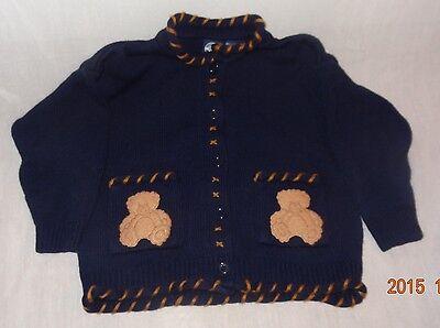 Boy's Blue Teddy Bear Sweater 24 Months Authentic Kids Cardigan