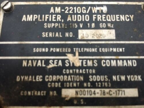DYNALEC AM-2210G/WTC amplifier US Navy 115 VAC used