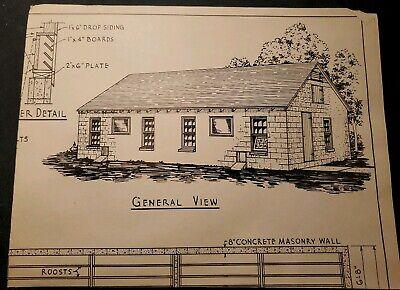 Vintage 1940s Blueprint Concrete Masonry Straw Loft Poultry House