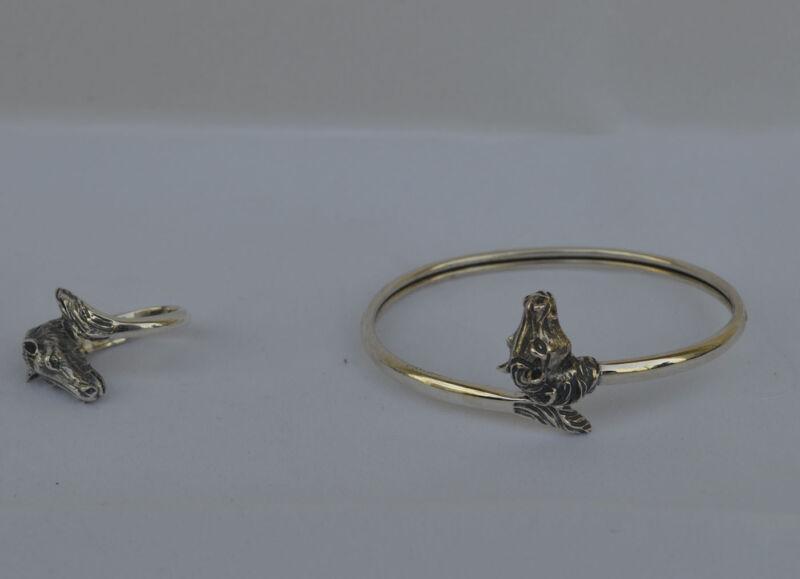 Horse Head Silver Set Bracelet - Ring - Symbol of Wealth - Prosperity