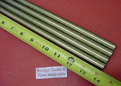 4 Pieces 516 C360 Brass Solid Round Rod 14 Long H02 Lathe Bar Stock .312 Od