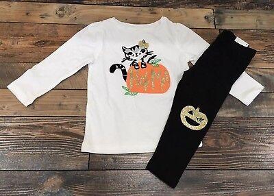 Girls Gymboree Nwt Halloween Outfit Pumpkin Cat Pick Me Shirt Leggings 18-24 M (Pumpkin Halloween Outfit)