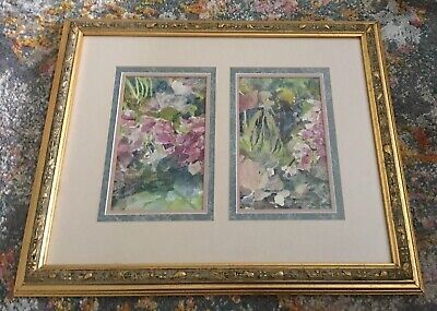 Original Floral Flower Botanical Abstract Paint on Cotton Rag Paper Art Framed