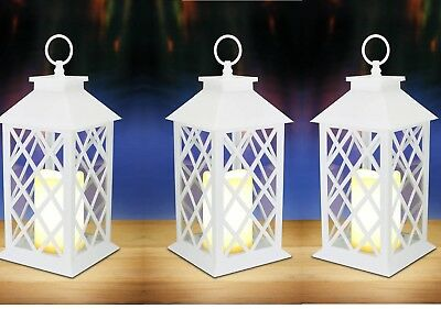 5 WHITE floral lattice Lantern & LED flameless pillar Candle holder Lamp wedding
