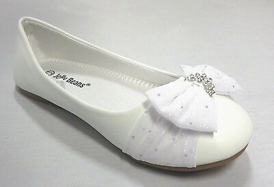 Girls Flats w/ Chiffon Bow (Coca) Youth Flower Girl White Dress Shoes - Girls Flower Girl Shoes