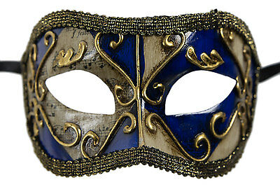 Mask from Venice Colombine Blue Golden Costume-Ball Masquerade - 1930 -V83B