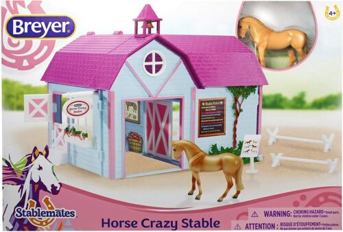 Breyer Stablemates Horse Crazy Stable, 5 Pc Set + 1 Horse 1:32 Scale #59193