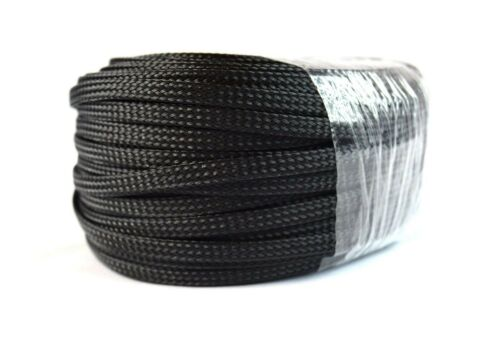 3/8 100FT BRAIDED EXPANDABLE SLEEVING FLEX HARNESS LOOM  WIRE COVER BLACK
