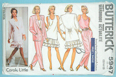 Uncut Butterick Sz 12-16 Jacket, Pullover Top, Skirt & Tapered Pant Pattern 5947