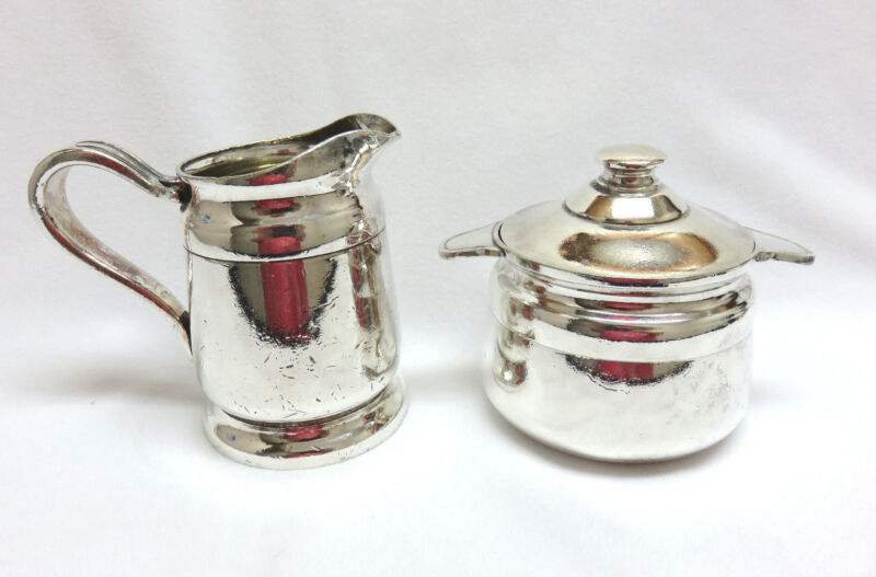 Vintage Reed & Barton Silver Restautant Ware Cream Pitcher & Sugar Bowl w/ Lid