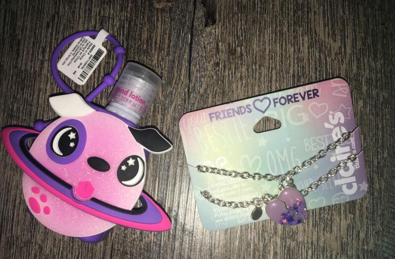 Claire's Puppy Backpack Clip Lotion Heart Bff Best Friend Bracelet Set Jewelry L