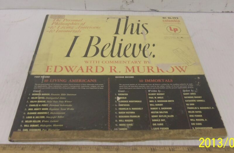 """THIS I BELIEVE"" with Commentary by Edward R. Murrow - Two Record Set"