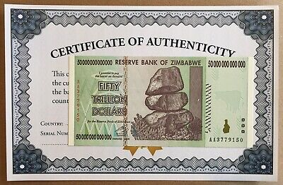 2008 50 TRILLION DOLLARS RESERVE BANK OF ZIMBABWE AA SERIES P90 GEM UNCIRCULATED
