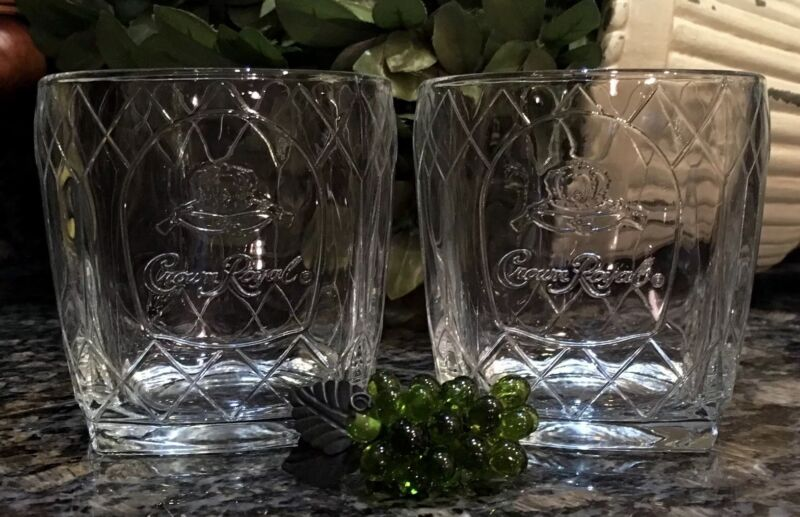 CROWN ROYAL Cathedral Clear Embossed Square Base Rocks Glasses (2) ITALY ~ MINT!
