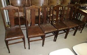 Antique Original Finish Oak Set of 6 T-Back Chairs