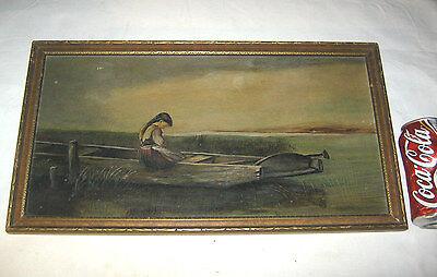 ANTIQUE 1901 COUNTRY FOLK ART PRIMITIVE GIRL BOAT MARSH LAKE OIL BOARD PAINTING