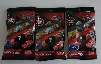 Disney Cars 3 Mini Racers Die Cast Car Blind Bag Lot of Three - Blind Bag Toys