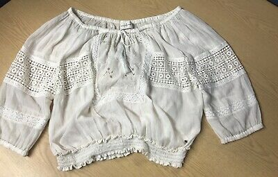 Womens Abercrombie & Fitch Cream Lightweight Cotton And Lace Peasant Top Size M