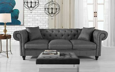 Classic Fabric Sofa Scroll Arm Tufted Button Chesterfield Couch, Light Grey ()