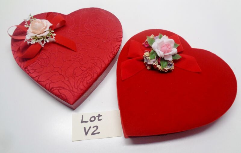 2 Vintage Valentine Heart Shaped Chocolate Candy Boxes Velvet And