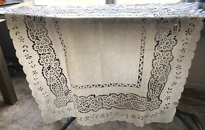 """Vintage Satin-Like 100% Polyester Floral Pattern 34 X 34"""" Table Cloth"""