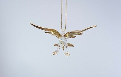 Hanging Gold Eagle Figurine of Blown Glass Crystal Collectible Eagle Figurine