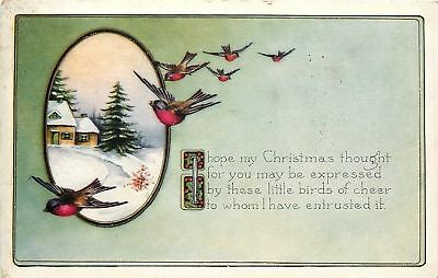 Christmas~Red Breasted Birds of Cheer Fly By~Snowy Country Cottage~Whitney Made