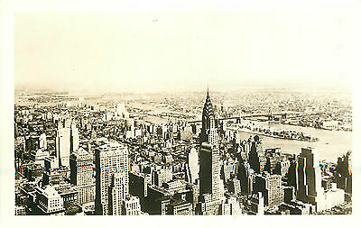 MANHATTAN NYC BIRD'S-EYE NORTH-EAST VIEW FROM EMPIRE STATE BLDG. RPPC P/C