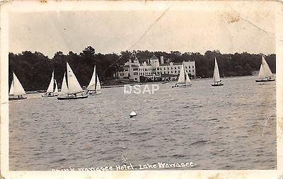 B64/ Lake Wawasse Indiana In Real Photo RPPC Postcard Hotel Sailboats 1936