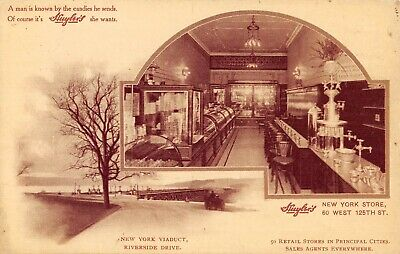 NEW YORK CITY, NY, HUYLER'S CANDY CO ADV PC, 125TH ST STORE INTERIOR c 1907-14 - Candy Store Nyc