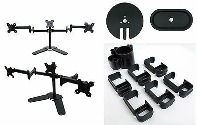 TRIPLE FREESTANDING LCD MONITOR STAND DESK MOUNT ADJUSTABLE ARM 3 SCREENS 13-27""