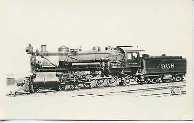 6J038 RPPC 1930s AT&SF SANTA FE RAILROAD LOCO #968