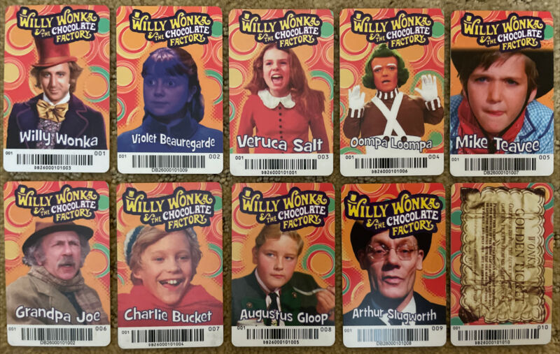 RARE WILLY WONKA SET with Golden Ticket From Dave & Busters