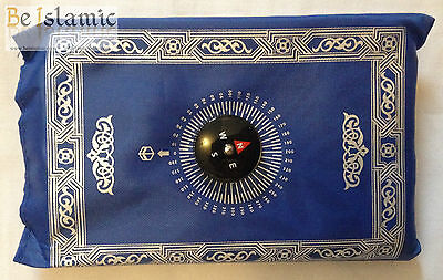 TRAVEL POCKET PRAYER MAT RUG WITH QIBLA LOCATOR COMPASS IN POUCH