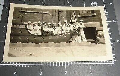 1930's Boy SAILOR COSTUME Santa Maria Faux Ship USA FLAG Vintage Snapshot PHOTO