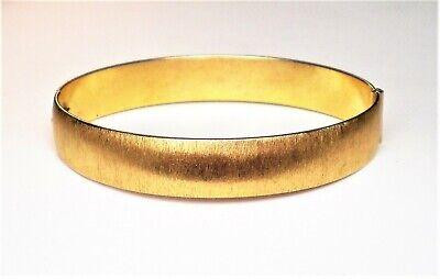 - Antique Art Deco Gold Tone Brush Finish Hinged Bangle BRACELET