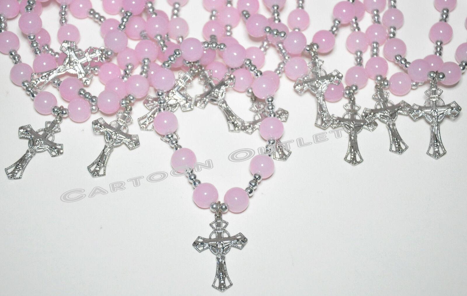 12 baptism favors bracelets bautizo recuerdos quinceanera pink