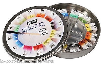 PEBEO ARTIST PAINTING WATER COLOUR AQUARELLE FINE 12 HALF PAN [ROUND METAL TIN]