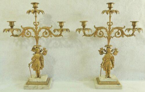 Large Pair Antique/Vtg Gold Figural Woman Sword Marble Candelabra Candle Holders