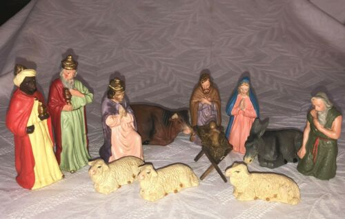 Vintage West Germany Christmas Nativity Manger Set ,Paper Mache CI 1940
