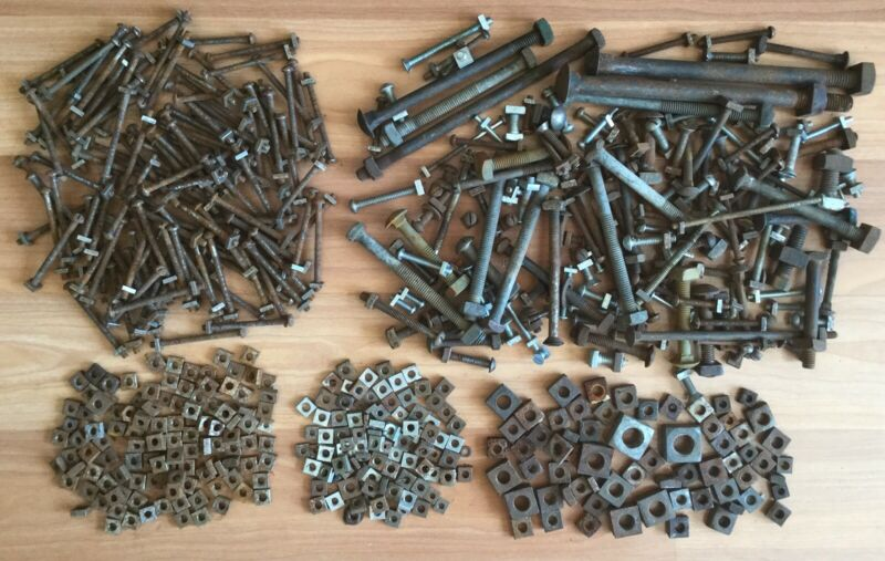 OLD VTG ANTIQUE BOLT SQUARE NUT HARDWARE MIXED LOT 12 LBS