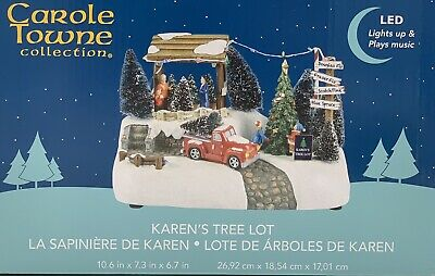 Carole Towne Collection, Karen's Tree Lot, LED Lights Up & Plays Music. #1293618
