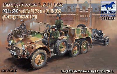 BRONCO CB35133 Krupp Protze L2 143 Kfz.69 w/3,7cm Pak 36 Early Version in 1:35