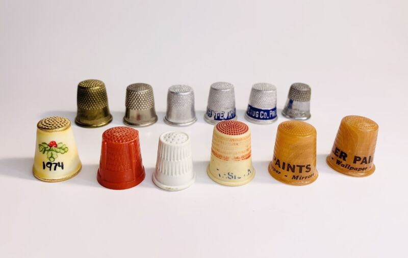 Lot of 12 Vintage Thimbles