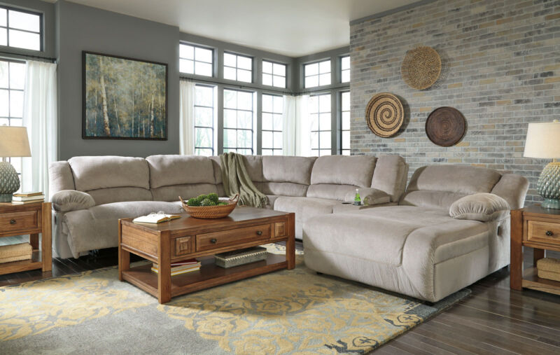 New 6pcs Living Room Sectional Couch Set Gray Microfiber Power Recliner Sofa F07