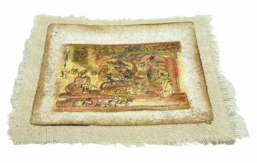 Conejo Escriba, Handmade Mexican Art on Bark Paper and Cotton Fabric